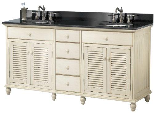 36' Antique Wood Bathroom Vanity - Pegasus CTAA6022D Cottage 60-Inch Vanity, Premium Antique White