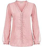 GRACE KARIN Women's Long Sleeve V Neck Lace Swiss Dot Tops Casual Chiffon Shirts Loose Blouse