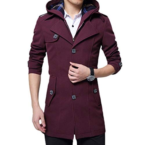 Coat Trench Outwear Coat Chic Fit Warm Thicken Jacket Rot Long Apparel Casual Hooded Men's 1 Parka with Detachable Slim 4qvfnHwng