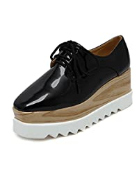 Tengyu Women's Platform Wedges Oxfords Classic Casual Lace up Mid Heels Wingtips Square Toe Shoes