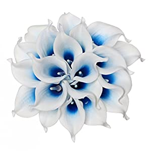 Houda Calla Lily Bridal Wedding Artificial Fake Flowers Party Decor Bouquet PU Real Touch Flower 10PCS (White Blue) 109