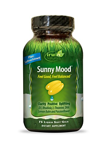 Irwin Naturals Sunny Mood - Stress Support Supplement - Mood Boost with Rhodiola, Lemon Balm, Saffron & L-Theanine - 75 Liquid Softgels