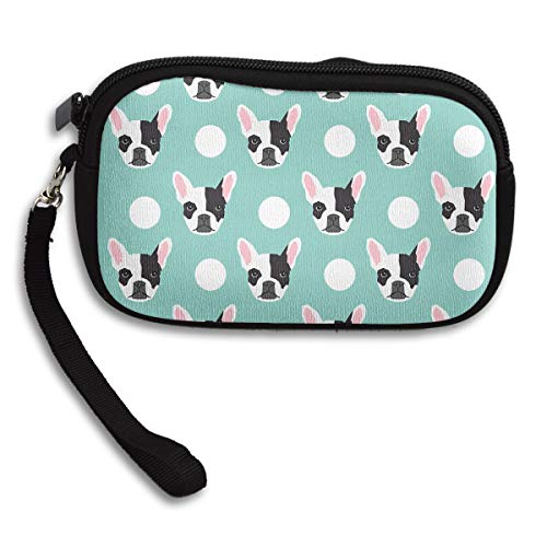 YINLAN French Bulldog Pattern Coin Purse Change Pouch Cosmetic Bag Wallet Cellphone Case Wristlet Clutch Zipper Handbag with Strap for Women Men