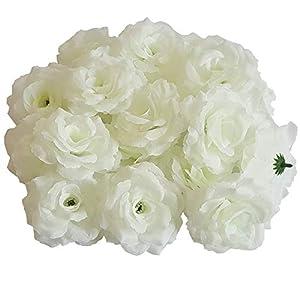 Eternal Blossom Silk Rose Flower Head, 20PCS for Hat Clothes Album Decoration, Wedding Decoration (Milk White) 117