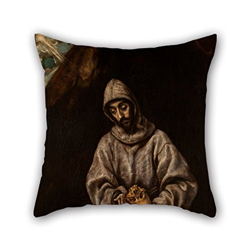 Beautifulseason Oil Painting Seguidor Del Greco - St Francis And Brother Leo Meditating On Death Throw Pillow Covers 16 X 16 Inches / 40 By 40 Cm Gift Or Decor For Drawing Room,teens Girls,study (Greco Painting)