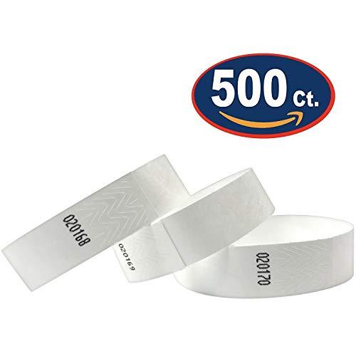 (Tyvek Wristbands - 500 Pack - White - 3/4