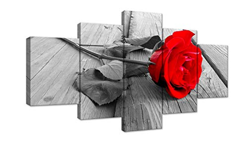 Black White Red Rose Flower on Grey Wooden Board 5 Panel Modern Home Decorative Painting Canvas Wall Art for Living Room Bedroom Bathroom Stretched and Framed Ready to - Red Roses Framed