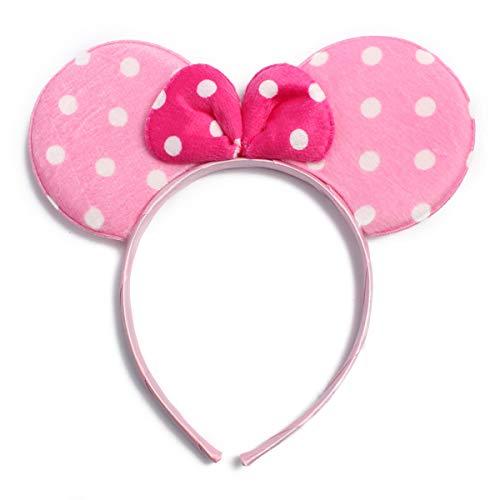 Cute Costume Cosplay Hair Accessory Headpiece - Festive Halloween Headband Minnie Mouse Polka Dot Bow Ear/Patriotic American Flag/Rhinestone Stars/USA (Minnie Mouse - Pink/Fuchsia)
