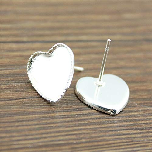 - Kamas 20pcs 10mm 12mm Heart Glass Cabochon Copper Material Sawtooth Edge Earring Studs Earrings Base/Blank Bezels DIY - (Color: Shiny Silver, Size: 10mm)