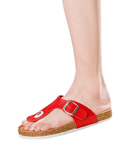 ZKOO Chanclas Footbed De Corcho Mujeres Punta Abierta Vendaje Zapatillas Verano Zapatos de Ajustable Hebilla Sandalias De Playa Rojo