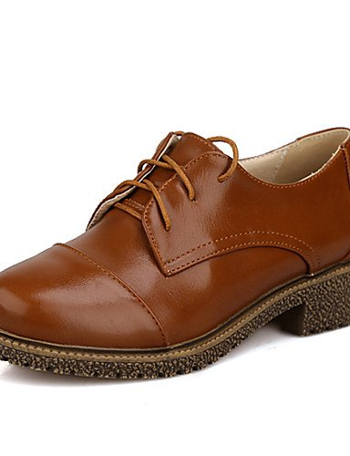 ZQ Zapatos de mujer-Tacón Bajo-Punta Redonda-Oxfords-Vestido / Casual-Semicuero-Negro / Marrón / Rosa / Beige / Bermellón , burgundy-us9 / eu40 / uk7 / cn41 , burgundy-us9 / eu40 / uk7 / cn41 black-us6.5-7 / eu37 / uk4.5-5 / cn37