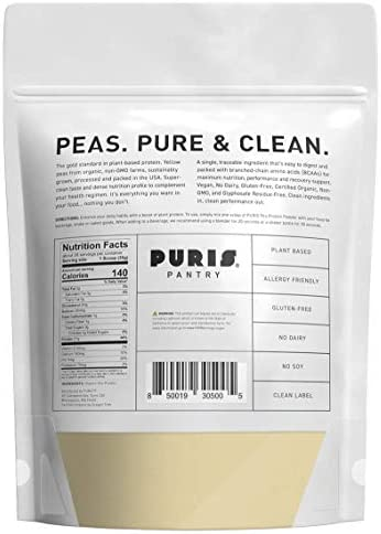 PURIS Organic Pea Protein Powder - 100% Grown, Processed and Packed in USA - 2 LB Unflavored - Certified Organic, Vegan, Gluten-Free, Non-GMO - Plant Based Protein Powder - Keto-Friendly, BCAA 2