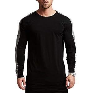 Magiftbox Men's Long Sleeve Raglan Pullover Sweatshirts Lightweight Active Gym Workout T-Shirts T13
