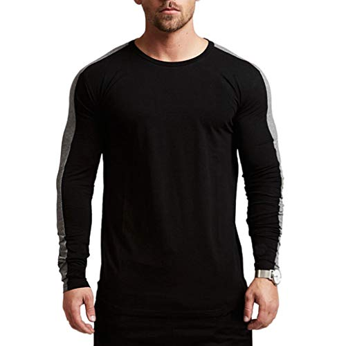 Magiftbox Men's Long Sleeve Raglan Pullover Sweatshirts Lightweight Active Gym Workout T-Shirts T13_Black_US-L ()