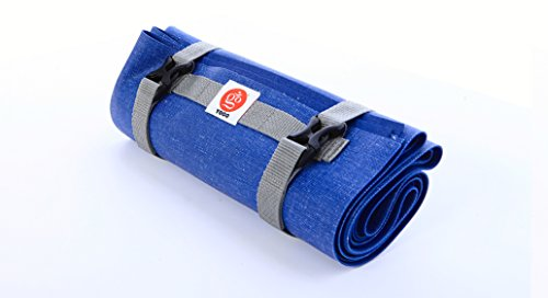 Ultralight Travel Yoga Mat by YOGO - Folding Mat With Integrated Straps and Handle for Carry and Wash