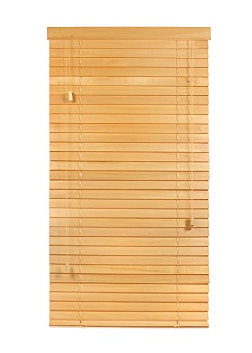 "Luxr Blinds Custom-Made 100% Real Wood 2"" Slats Venetian Blinds: Easy-Mount Horizontal Window Treatment with Magnetic Valences- 34.5""x64"" Length, Natural"
