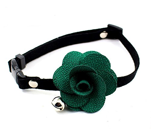 Green Neck Size  10\ Green Neck Size  10\ PETFAVORITESTM Designer pink Flower Suede Leather Bow Tie Pet Cat Dog Collar Necklace Jewelry with Bell Charm for Pets Cats Medium or Large Dogs Female Puppy Yorkie Girl (Green, Size  10 -15.7 )