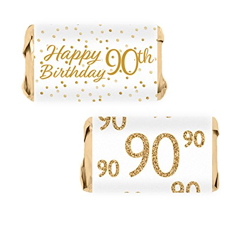Candy Wrapper Birthday Favor (90th Birthday Party Miniatures Candy Bar Wrapper Stickers - White and Gold (54 Count))