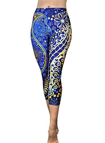 Comfy Yoga Pants - Dry Fit - Slimming Mid Rise Cut - Printed Yoga Leggings (Capri Deep Sea)