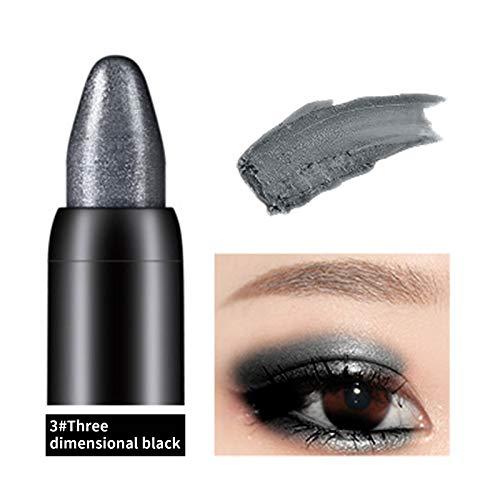 Longxan Eye Shadow Stick-Eyes Waterproof Pearlescent Eye Shadow Stick,Long-Lasting Beauty Highlighter Eyeshadow Pencil for Woman (03#Stereoscopic Black)