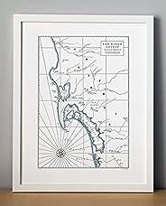 San Diego California Letterpress Map Unframed Print