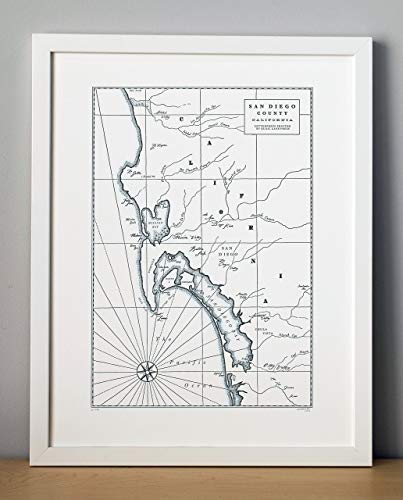 San Diego California Letterpress Map Unframed Print, used for sale  Delivered anywhere in USA