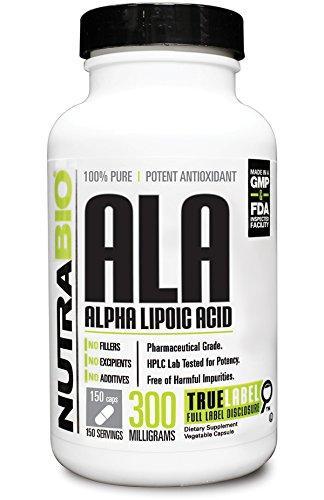 NutraBio Alpha Lipoic Acid  300 mg - 150 Vegetable Capsules