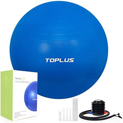 🥇 TOPLUS Pelota de Gimnasia Anti-Reventones Bola de Yoga Pilates y Ejercicio Balón para Sentarse Balon de Ejercicio para Fitness 300 kg con Bomba de Aire 65cm
