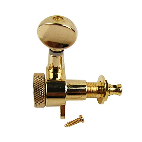 IKN 6pcs Right Hand Electric Guitar Tuning Pegs Keys 6R Locking Machine Heads, Golden