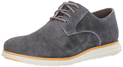 - Cole Haan Men's Original Grand Plain Toe Oxford, Grey Denim Extra Suede/Sunset Gold/Optic White, 14 M US