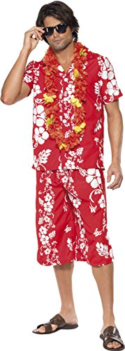 Smiffy's Men's Hawaiian Hunk Costume, Shirt and Shorts, Hawaiian Luau, Serious Fun, Size M, 33070 (Halloween Costumes With Hawaiian Shirts)