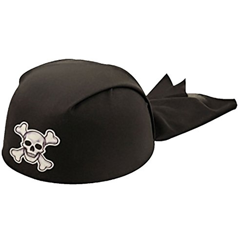 Adults Black Bandana Pirate 20cm Hat Unisex Stag Do Fancy Party Hat Accessory