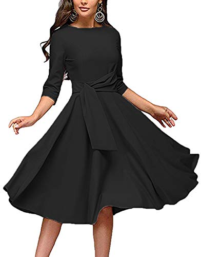 Women's Elegance Audrey Hepburn Style Ruched Dresses Round Neck 3/4 Short Sleeve Pleated Swing Midi A-line Dress with Pockets(Black, Small)