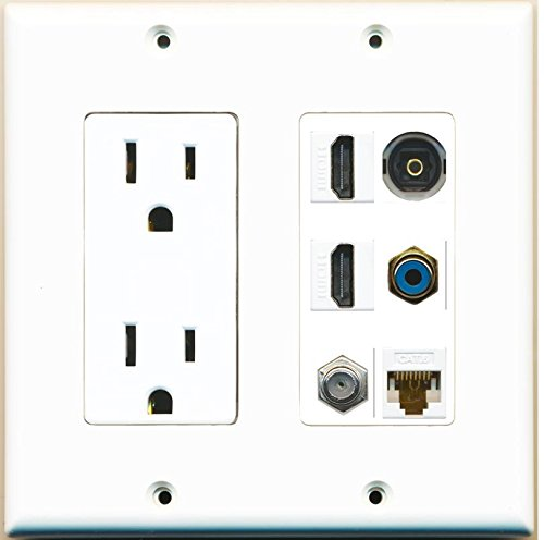 RiteAV - (2 Gang Decorative) Power Outlet 2 HDMI Coax Cat6 RCA Blue Toslink Wall Plate by RiteAV (Image #1)