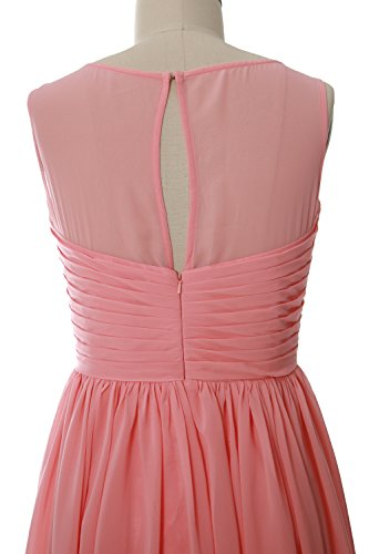 MACloth Women O Neck Short Bridesmaid Dress Chiffon Wedding Party Formal Gown Blush Pink