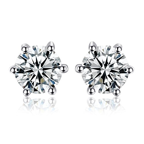 (JewelryPalace Round 1.2ct Natural White Topaz Stud Earrings Solid 925 Sterling Silver)