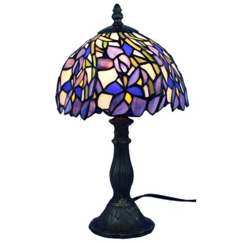 "Amora Lighting AM1076TL08 Tiffany Style Iris Mini Table Lamp, 15"""