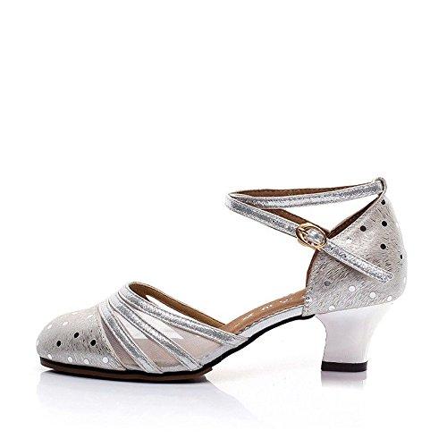 Wxmddn Zapatos de Baile Cuadrados de Mujer de Cuero Femenino Zapatos de Baile de salón de Mujeres con Zapatos de Cuero Suave Zapatos de Baile Latino Silver