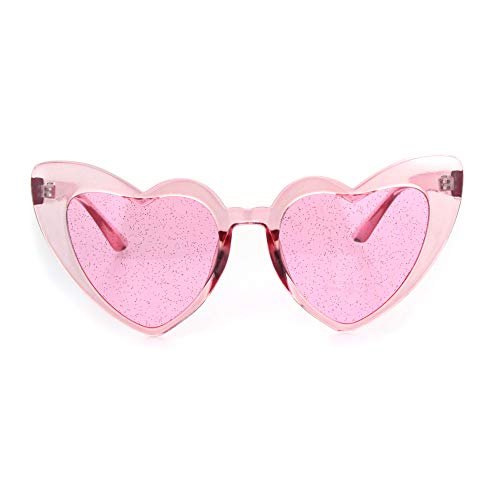 Womens Glitter Lens Heart Shape Plastic Valentine Cat Eye Sunglasses All Pink
