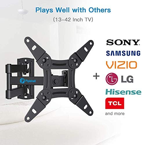 Full Motion TV Monitor Wall Mount Bracket Articulating Arms Swivels Tilts Extension Rotation for Most 13-42 Inch LED LCD Flat Curved Screen TVs & Monitors, Max VESA 200x200mm as much as 44lbs through Pipishell