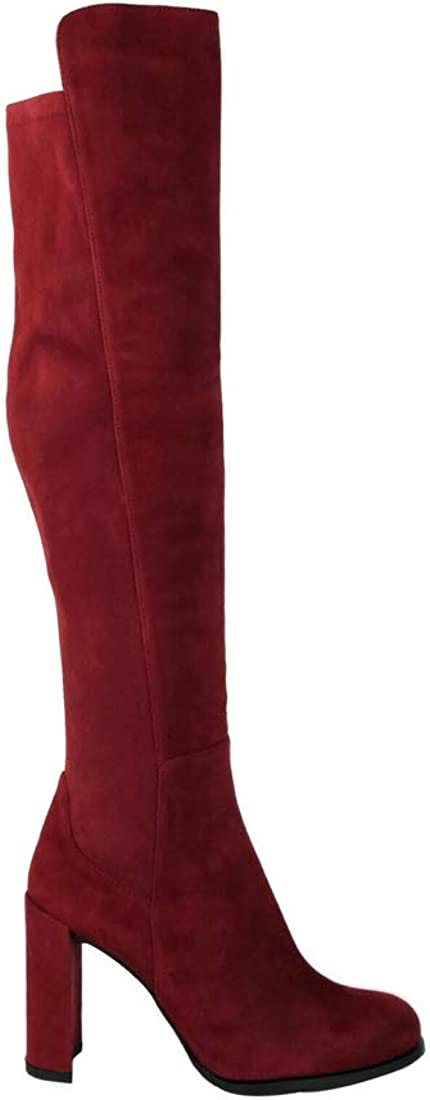 Stuart Weitzman Alljill Scarlet Red Suede Over-The-Knee Boot