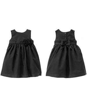 Girls Belles & Bowties Black Shimmer Rosette Dress