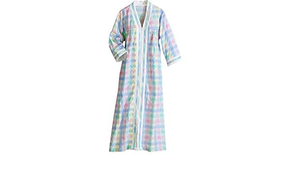 35fd221937 The Vermont Country Store Women Women s Pastel Madras Zip-Front Duster  Large at Amazon Women s Clothing store  Outerwear