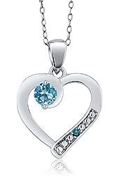 0.35 Ct Round Swiss Blue Topaz Blue Diamond 925 Sterling Silver Pendant
