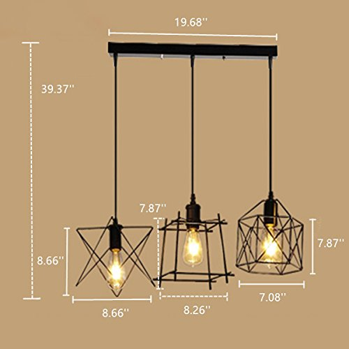 NIUYAO Antique Metal Cage Pendant Lighting Chandelier Rustic Kitchen Linear Island Light 3 Lights by NIUYAO (Image #4)