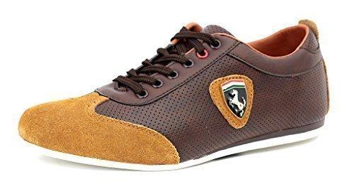 Zapatillas Informales Para Hombre De Piel Con Cordones Deporte Inteligentes zapatos núm. RU Marron