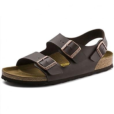 4e1858167a1a Birkenstock Milano Birko-Flor Dark Brown Ankle Strap Sandals 0034703   Amazon.co.uk  Shoes   Bags