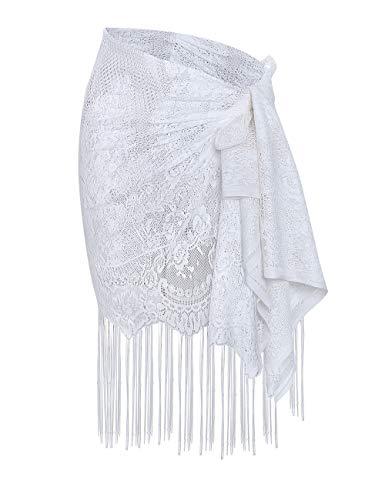 shermie Women's Swimwear Sarong Wrap Swimsuit Skirt Bikini Summer Beach Cover Up with Tassel (One_Size, 004-White)