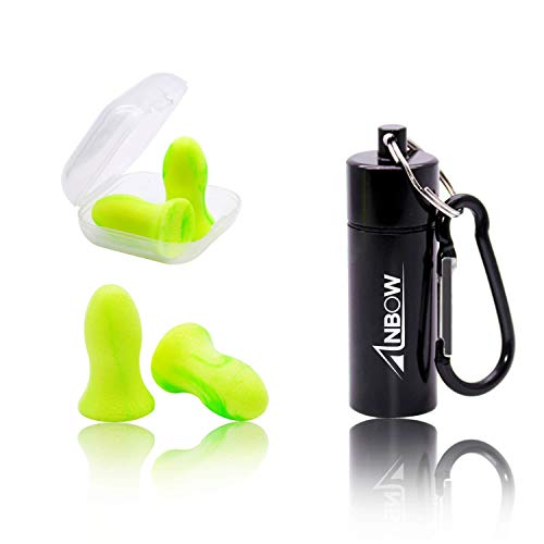 ANBOW Foam Ear Plugs - Noise Cancelling Anti-Bacterial Earplugs for Sleeping, Snoring, Working, Shooting, Travel, Concert, 32dB Highest NRR,2 Pairs with Aluminum Carry Case