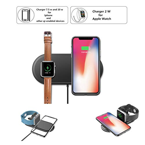 Nuoshawan 2 in 1 Qi Wireless Charging Pad Fast Charger Compatible iPhone X XS MAX XR 8 8 Plus, Samsung S8 S7 Edge S6 Edge+ Note 8, Nexus 5/6/7 iWatch Apple Watch Series 1/2/3/4(only apple watch4-40mm)